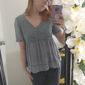 Dusty Blue spring blouse